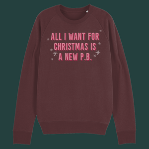 "Christmas Jumper, Unisex - ""All I Want for Christmas is a New PB"""