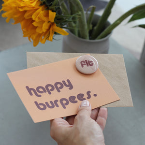 Happy Burpees Birthday Card with Fit Badge