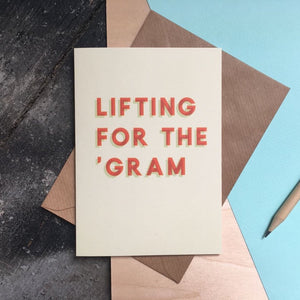 Lifting for the gram Instagram Instafamous greeting birthday card
