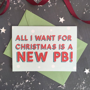 All I Want for Christmas is a New PB gym themed holiday card