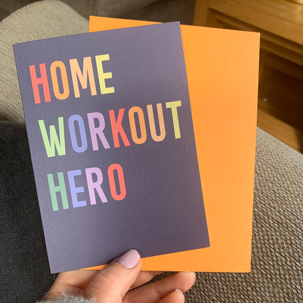 Home Workout Hero Greetings Card with Badge