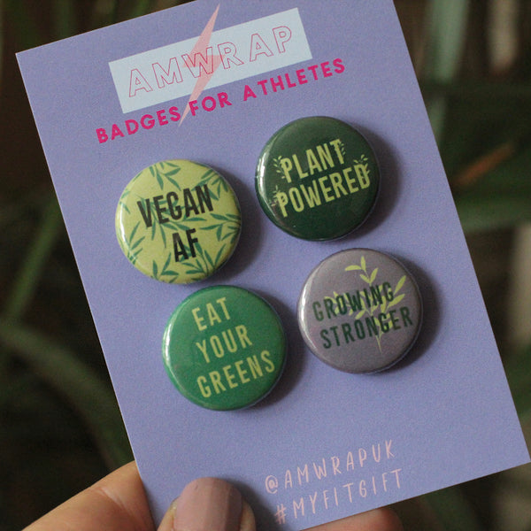 'GROWING STRONGER' Vegan Themed Mini Button Badge Set of 4