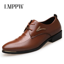 Big Size 38-46 Fashion Men Dress Shoes Pointed Toe Lace Up Men's Business Casual Shoes Brown Black Leather Oxfords Shoes 2A
