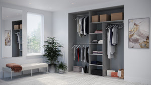 Oderno Wardrobes, Fitted Wardrobes, Sliding Wardrobes, Graphitewood Wardrobes, 2 & 3 Door Interior, Hanging & Shelving, Dust Grey Interiors