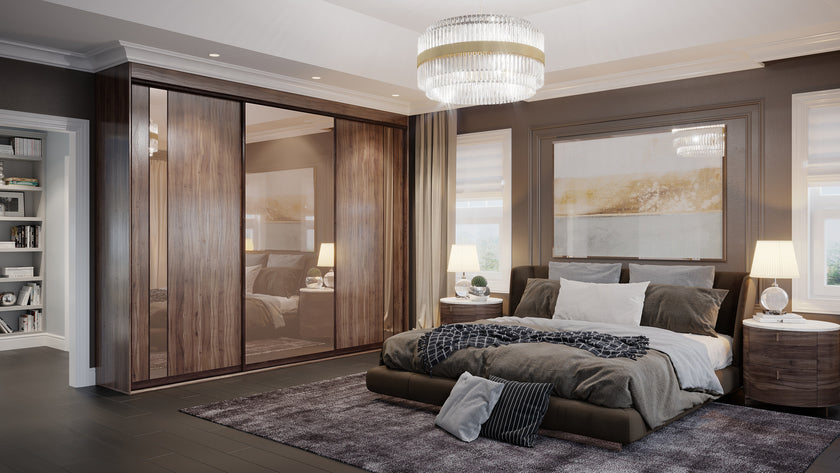 Oderno Wardrobes, Fitted Wardrobes, Sliding Wardrobes, Tobacco Walnut Wardrobes