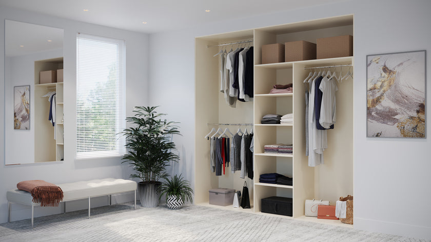 Oderno Wardrobes, Fitted Wardrobes, Sliding Wardrobes, Halifax Wardrobes, 2 Door Interior, Hanging & Shelving, Mussel Interiors