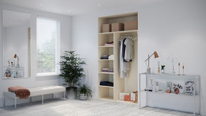 Oderno Wardrobes, Fitted Wardrobes, Sliding Wardrobes, Hamilton Wardrobes, 2 Door Interior, Hanging & Shelving, Mussel Interiors
