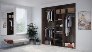Oderno Wardrobes, Fitted Wardrobes, Sliding Wardrobes, Tobacco Walnut Wardrobes, 2 & 3 Door Interior, Hanging & Shelving, Tobacco Walnut Interiors