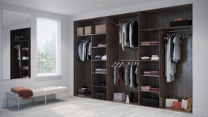 Oderno Wardrobes, Fitted Wardrobes, Sliding Wardrobes, Tobacco Walnut Wardrobes, 4 & 5 Door Interior, Hanging & Shelving, Tobacco Walnut Interiors