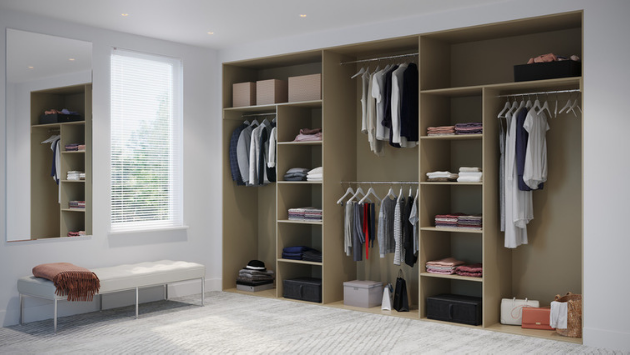 Oderno Wardrobes, Fitted Wardrobes, Sliding Wardrobes, Tobacco Walnut Wardrobes, 4 Door Interior, Hanging & Shelving, Dakar Interiors