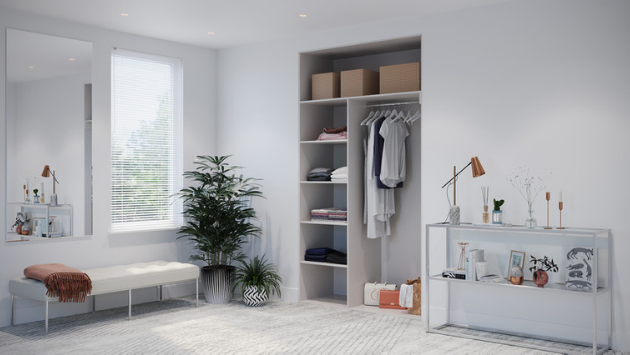 Oderno Wardrobes, Fitted Wardrobes, Sliding Wardrobes, Stone Grey Wardrobes, 2 Door Interior, Hanging & Shelving, Cashmere Grey Interiors