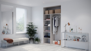 Oderno Wardrobes, Fitted Wardrobes, Sliding Wardrobes, White Mountain Larch Wardrobes, 2 Door Interior, Hanging & Shelving, Cashmere Grey Interiors