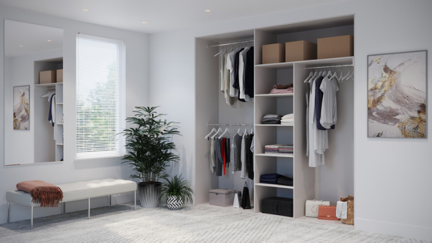 Oderno Wardrobes, Fitted Wardrobes, Sliding Wardrobes, White Mountain Larch Wardrobes, 3 Door Interior, Hanging & Shelving, Cashmere Grey Interiors