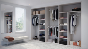 Oderno Wardrobes, Fitted Wardrobes, Sliding Wardrobes, White Mountain Larch Wardrobes, 4 Door Interior, Hanging & Shelving, Cashmere Grey Interiors