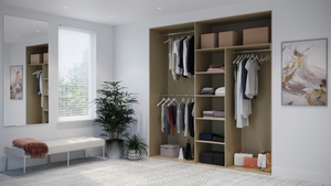 Oderno Wardrobes, Fitted Wardrobes, Sliding Wardrobes, Tobacco Walnut Wardrobes, 3 Door Interior, Hanging & Shelving, Dakar Interiors