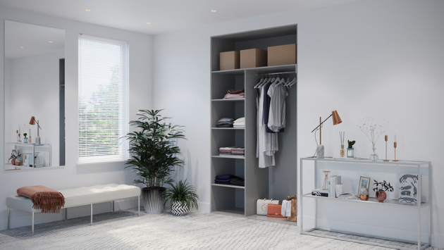 Oderno Wardrobes, Fitted Wardrobes, Sliding Wardrobes, Dust Grey Wardrobes, 2 Door Interior, Hanging & Shelving, Cashmere Grey Interiors