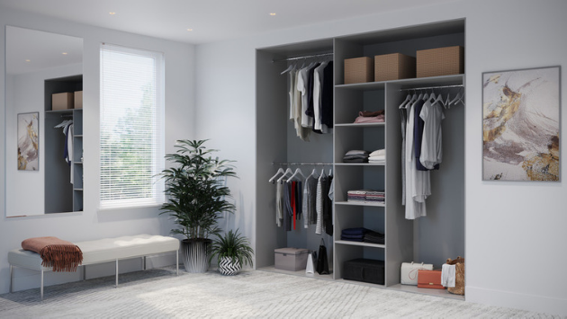 Oderno Wardrobes, Fitted Wardrobes, Sliding Wardrobes, Dust Grey Wardrobes, 3 Door Interior, Hanging & Shelving, Cashmere Grey Interiors