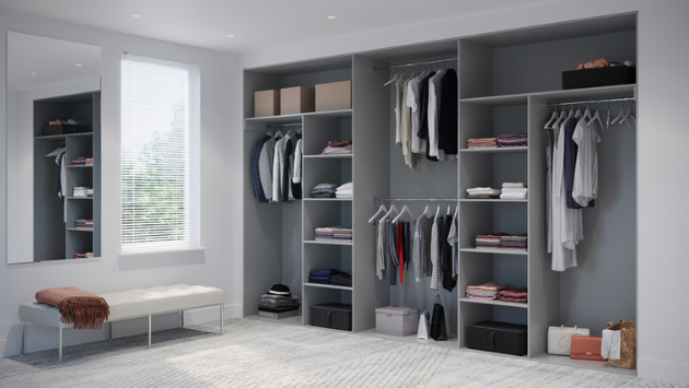 Oderno Wardrobes, Fitted Wardrobes, Sliding Wardrobes, Dust Grey Wardrobes, 4 Door Interior, Hanging & Shelving, Cashmere Grey Interiors
