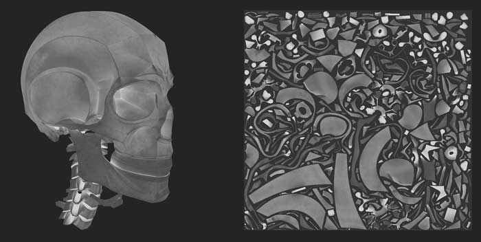 metal-roughness texturing for 3d model of a skull