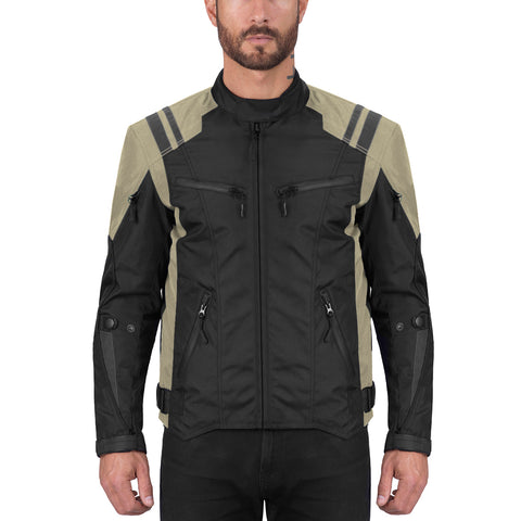 Viking Cycle Ironborn Khaki Textile Motorcycle Jacket for Men