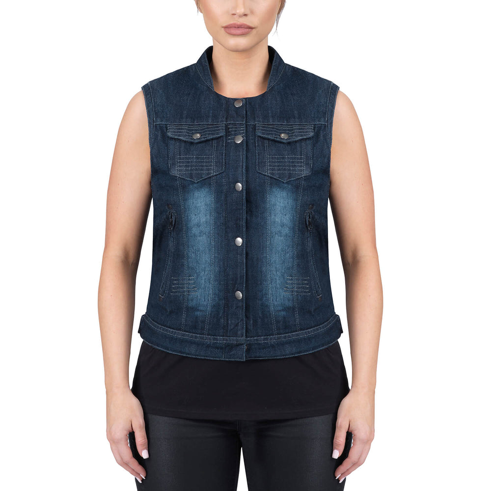 Viking Cycle Blue Denim Motorcycle Vest for Women