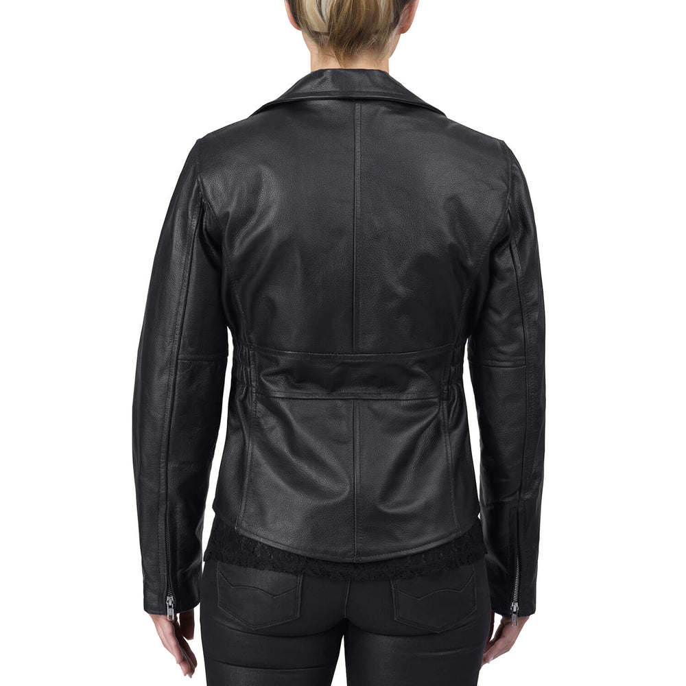 Viking Cycle Cruise Black Leather Motorcycle Jacket for Women