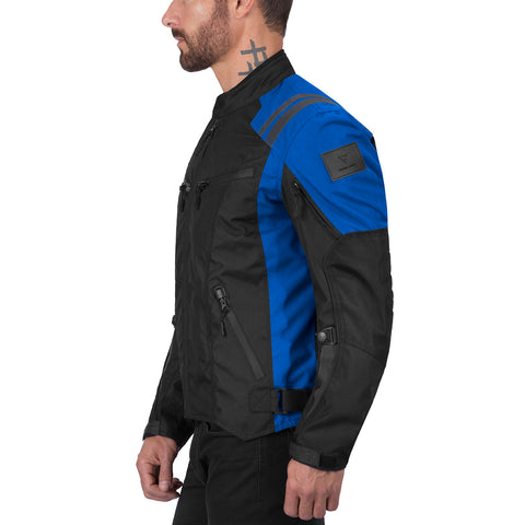 Viking Cycle Ironborn Blue Textile Motorcycle Jacket for Men