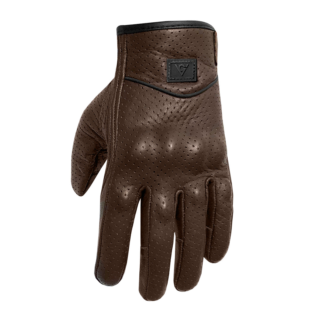 Viking Cycle Perforated Motorcycle Brown Leather Gloves for Women