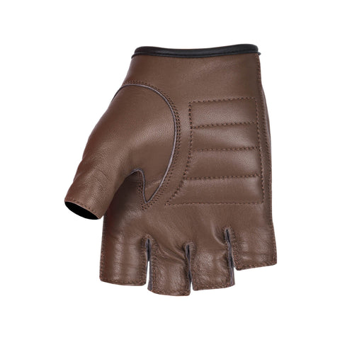 Viking Cycle Half Finger Brown Motorcycle Leather Glove for Women