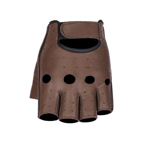 Viking Cycle Half Finger Brown Motorcycle Leather Glove for Men