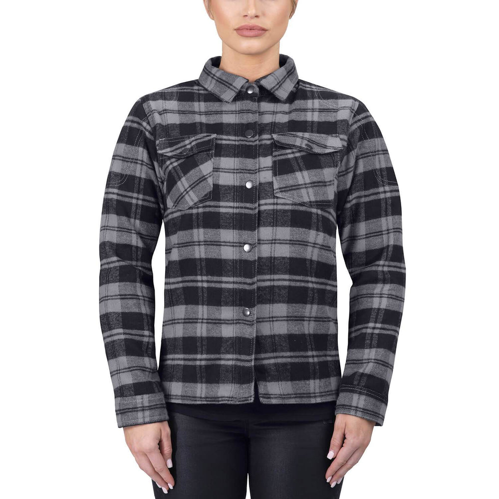 Viking Cycle Gray Textile Motorcycle Flannel Shirt for Women