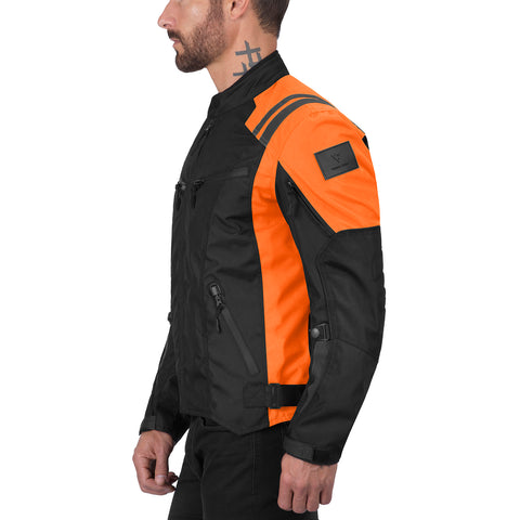 Viking Cycle Ironborn Orange Textile Motorcycle Jacket for Men