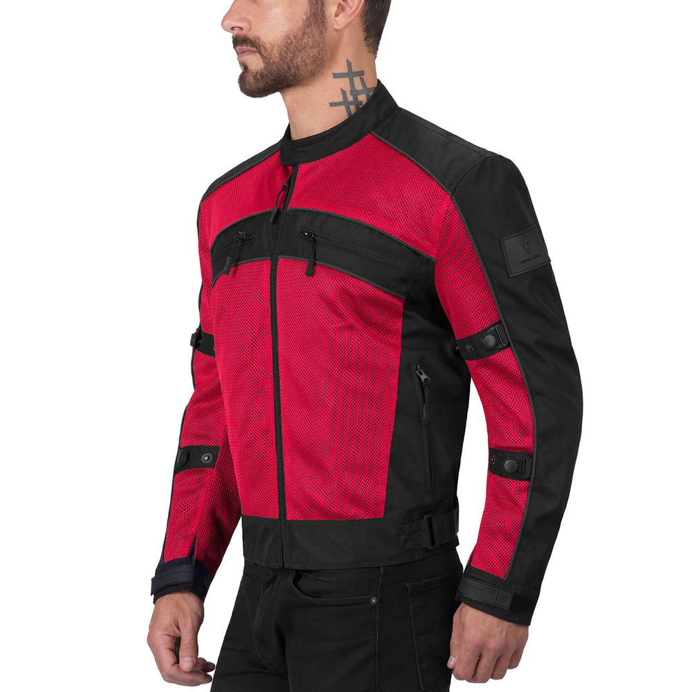 Viking Cycle Ironside Red Textile Motorcycle Jacket for Men