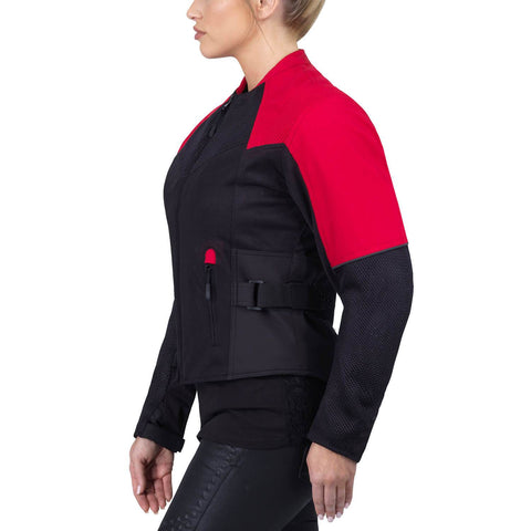 Viking Cycle Freedom Black/Red Textile Motorcycle Jacket For Women