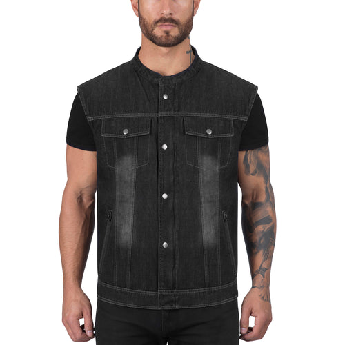 Viking Cycle Black Denim Motorcycle Vest for Men