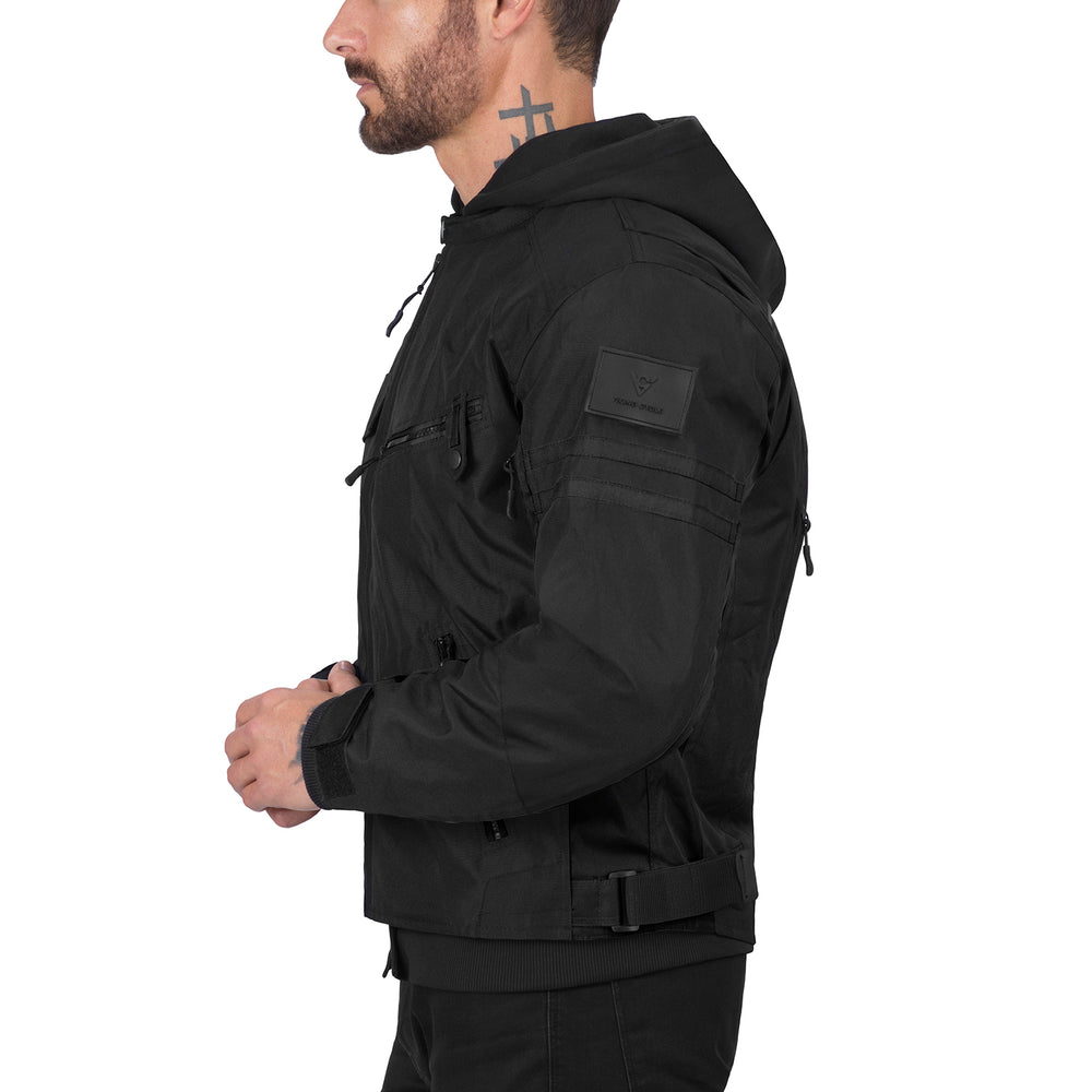 Viking Cycle Unshackled Black Textile Motorcycle Hoodie Jacket for Men