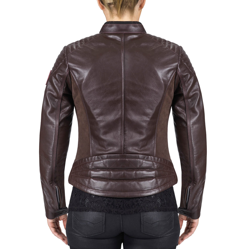 Viking Cycle Cafe Brown Leather Motorcycle Jacket for Women