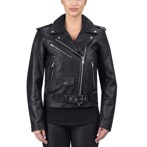 Viking Cycle Fire Goddess Black Leather Motorcycle Jacket for Women