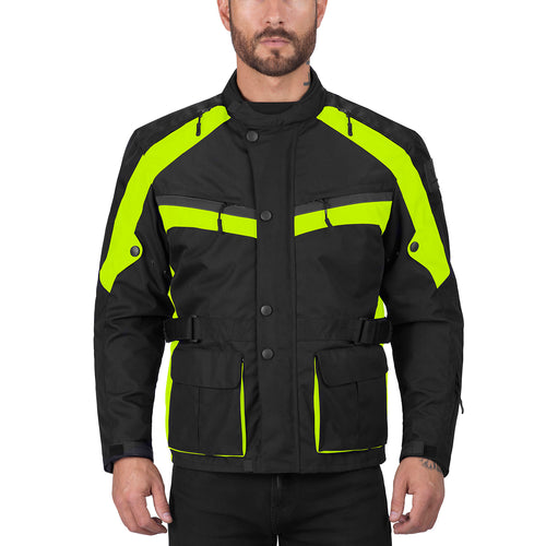 Viking Cycle Enforcer Hi Viz Neon Textile Motorcycle Touring Jacket for Men