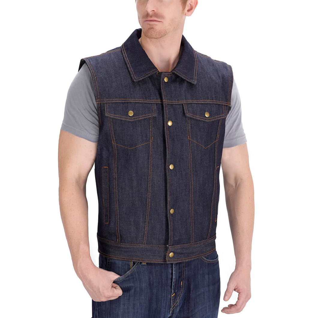 Viking Cycle Freedom Blue Denim Motorcycle Vest for Men