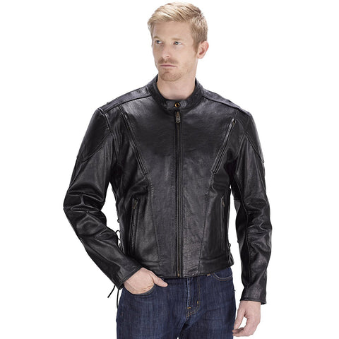 Viking Cycle Warrior Black Motorcycle Leather Jacket for Men