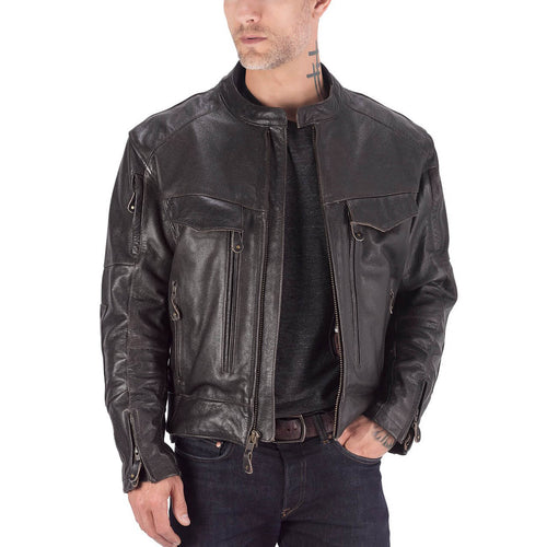 Viking Cycle Skeid Brown Leather Motorcycle Jacket for Men