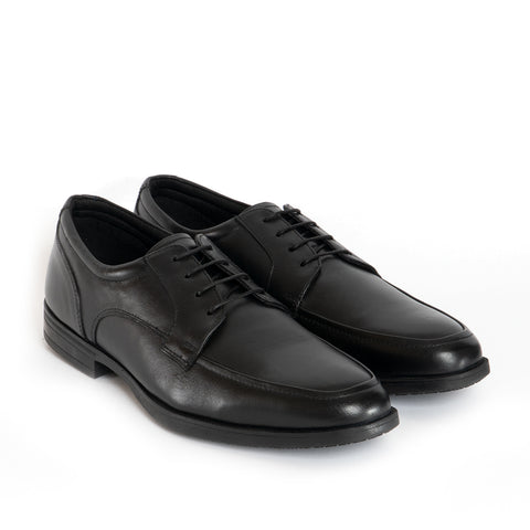 HARVEY Mens Leather Derby Apron Shoes - Black