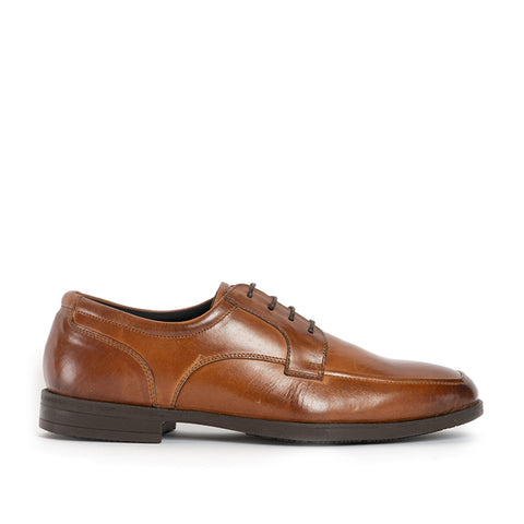 HARVEY Mens Leather Derby Apron Shoes - Cognac