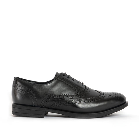 JAMES Unisex Leather Brogue Derby Shoes - Polished Black