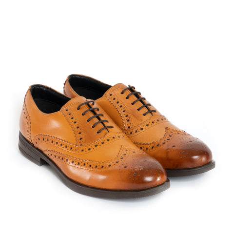 JAMES Unisex Leather Brogue Derby Shoes - Tan