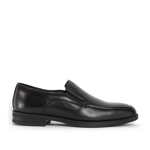 RILEY Mens Leather Slip On Apron Shoes - Black