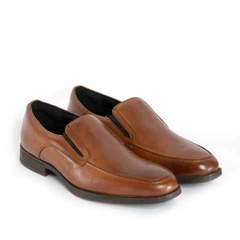 RILEY Mens Leather Slip On Apron Shoes - Cognac
