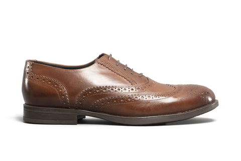 JAMES Unisex Leather Brogue Derby Shoes - Cognac