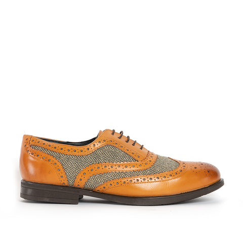 VINCENT Mens Leather Brogue Shoes - Tan/Tweed